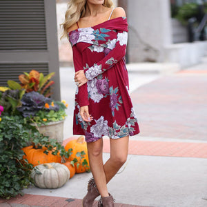 Women Spring Floral Casual Slash Neck Loose Long Sleeve Mini Dress