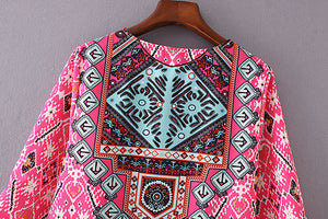 Women 3/4 Sleeves Geometric Pattern Vintage Print Loose Summer Dress