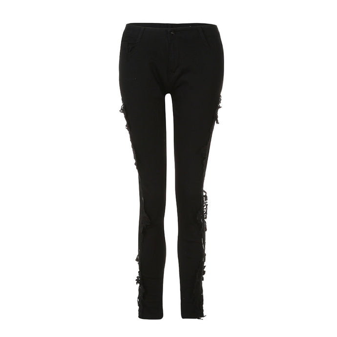 Women Black bottoms Skinny Ripped Jeans Pants High Waist Stretch Slim Pencil Trousers