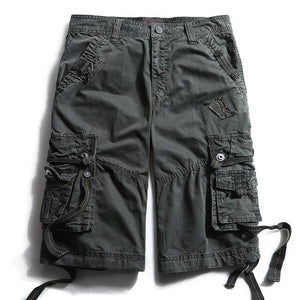Army Camouflage Cargo Shorts Work Bermuda Many Pockets Brand Clothing Baggy Shorts Military 100% Cotton Casual Short Homme 252