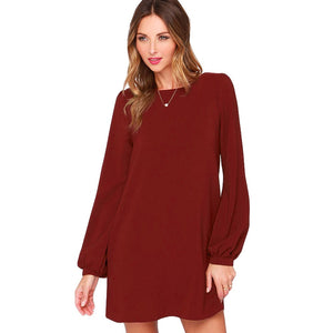 Women Chiffon Dress Long Sleeve Solid Shift Dress O-Neck Mini Dress Black/Burgundy/Green