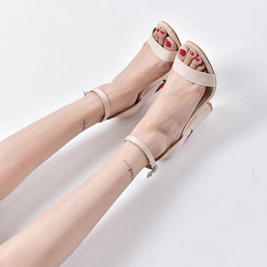 Women Suede Rose Embroidery With Crude High-heeled shoes Sandals