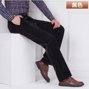 Wholesale autumn and winter thick section corduroy men's casual pants loose middle-aged corduroy trousers straight long pants pl