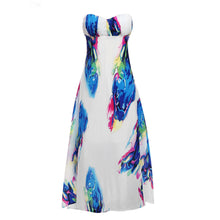 Women Boho style long dress Off shoulder Floral print Vintage chiffon watercolor summer maxi Sexy Party dress vestidos de festa