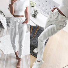 Women  Striped  High Waist Harem Pants Women Bowtie Elastic Waist  Casual Pants