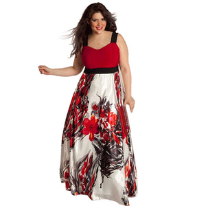 Plus Size Women Floral Printed Long Evening Party Prom Gown Formal Dress