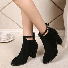 Women Buckle Ladies Belt  Faux Warm Boots Ankle Boots High Heels Martin Shoes