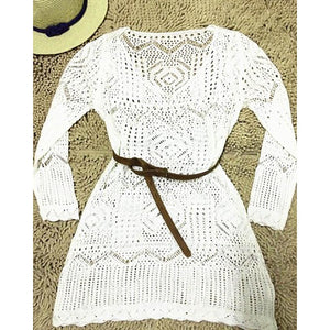 malianna 2018 New Spring Summer S-XL Sexy Women Hollow Out White V-Neck Mini Lace Dress Beach Elegant Dresses With Belt Lady Vestidos
