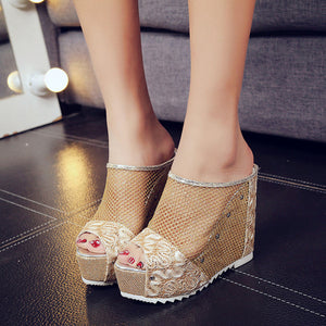Women Flip Flops Hollow Wedge High Heel Shoes Ladies Summer Sandals