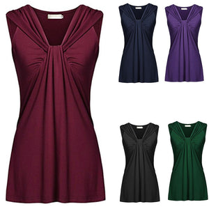 Ruched Vest Women Fashion Summer Sleeveless Plus Size Pure Color Casual Tops