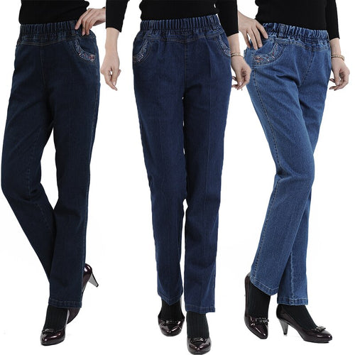 2018 spring and summer  elastic waist high waist denim straight female women jeans thin Lady pants plus size