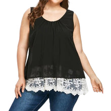 Women Chiffon Floral Casual Flower Lace Plus Size Blouse Top Shirts Tank Vest