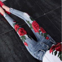 Flower Embroidered Women Jeans Stretch Elastic Jeans  Pencil  Hole Ripped Rose Pattern Jeans plus size 25-31