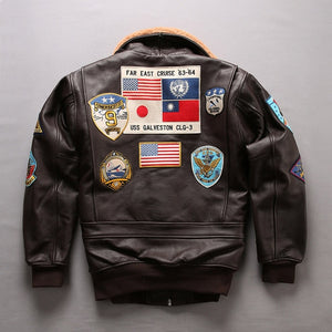 2018 Men A2 Pilot Jacket Tom Cruise Top Gun Air Force Cow Coats 100% Real Fashin Multi-label Thick Cowhide Winter Russia Coats