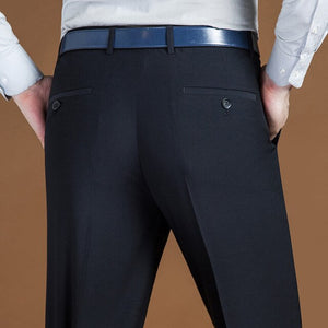 29-44 Business Classic Long Men Pants Spring Autumn Male Casual Stretch Plaid Formal Office Wear Baggy Straight Suit Trousers