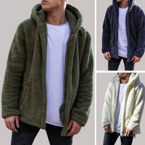 Winter Warm Men Winter Thick Hoodies Tops Fluffy Fleece Fur Jacket Hooded Coat Outerwear Long Sleeve Cardigans