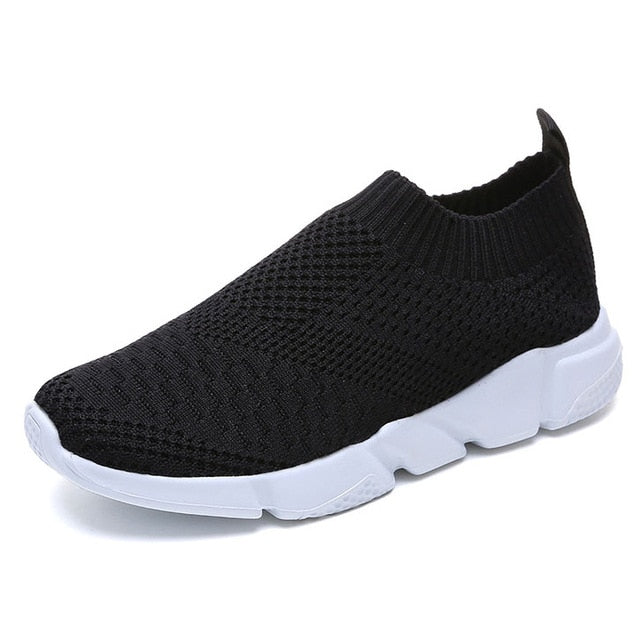 Women Shoes 2019 New Flyknit Sneakers Women Breathable Slip On Flat Shoes Soft Bottom White Sneakers Casual Women Flats Krasovki