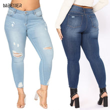 NIBESSER New Fashion Jeans High Waist Jeans Women Pencil Pants Holes Elastic Skinny Pants Trousers Fit Lady Jean Plus Size 7XL