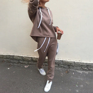 2 piece sets New fashion Casual suits autumn hooded pullover fleece & loose pants two-piece set women solid hoodies + trousers