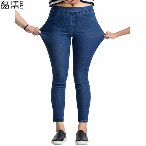 Women Jeans Plus Size Casual high  waist summer Autumn Pant Slim Stretch Cotton Denim Trousers for woman Blue black 4xl 5xl 6xl