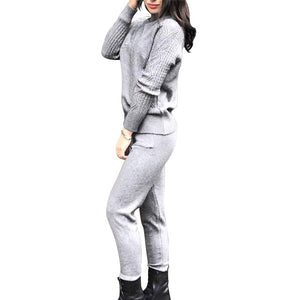 MVGIRLRU Women's Knitted Sets Casual Sweater Suit Knit Jumper Tops + Pants Two Piece Sets Female Tracksuit