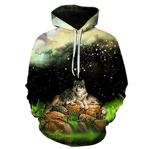 BIAOLUN Fashion Galaxy Space 3D Hoodie bright wolf Print Hoodies Sweatshirts Men Women Unisex Hooded Pullovers Animal 3D Tops