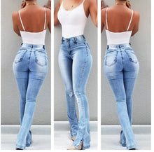 Women Vintage Washed Stretch Denim Jeans High Waist Oversized Boot Cut Jean Plus Size Pants