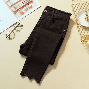 2019 Jeans for Female skinny plus size high elastic gray pencil pants for lady Donna summer autumn black woman's trousers denim