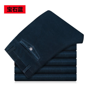 New Autumn winter men casual pants high waist elastic corduroy pants straight middle-aged Loose Solid men's trousers wash wear