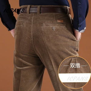 ICPANS Corduroy Men Trousers Straight Thick Warm Autumn Winter Men Pants High Waist Mens Pants Plus Size 40 42 44 46