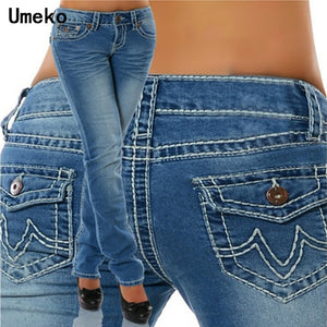New Fashion 2019 Plus Size Jeans Woman Skinny Pockets Denim Ladies Pencil High Waist Blue Jeans Women Pants Female Trousers