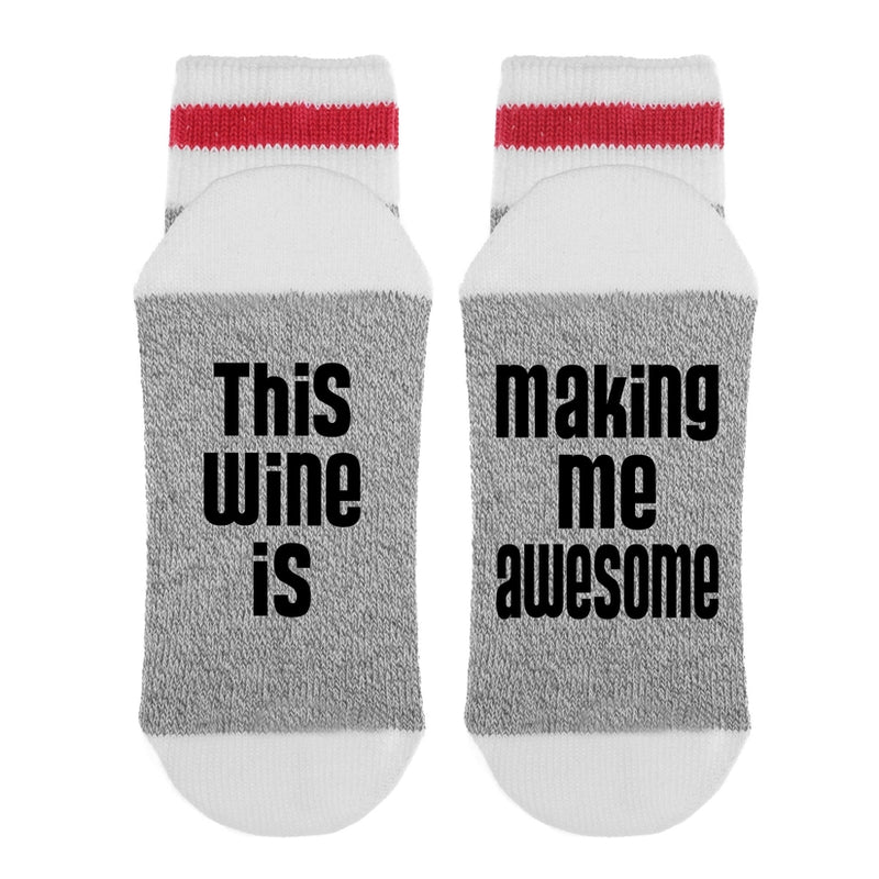 """This Wine is Making Me Awesome"" Lumberjack Socks - Light Grey"