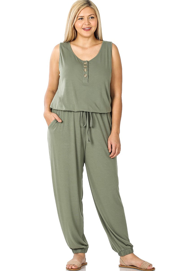 Lounge the Day Away Romper - Olive *curvy*