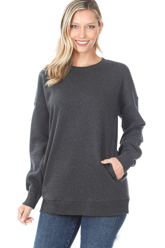 Alyssa Crew Neck Sweater - Charcoal - SALE!