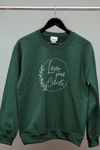 """Love Your Circle"" Crew Neck Sweater - Forest Green"