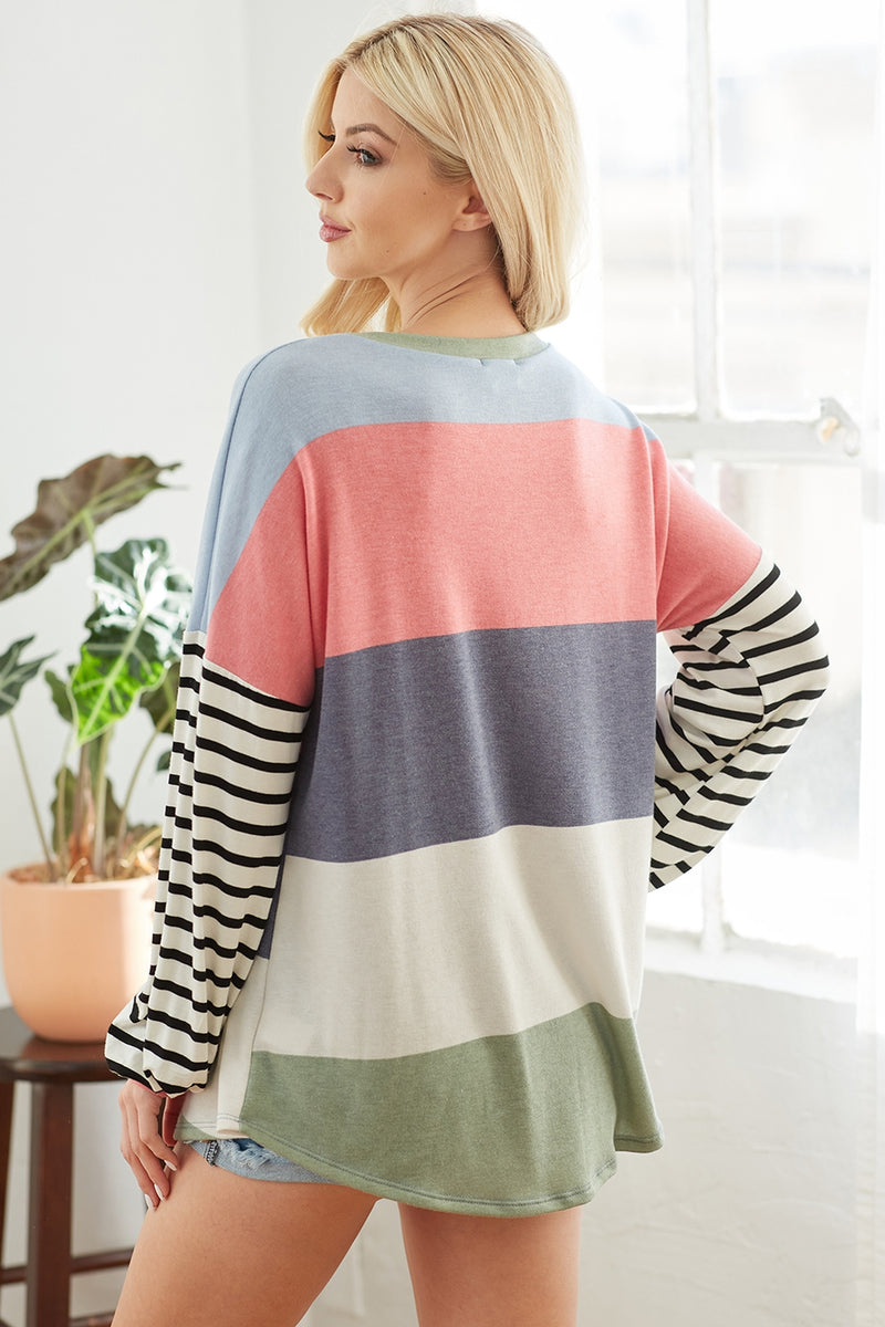 Tammy Color Block Top - Multi *up to 3x*