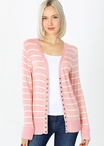 Rosie Striped Cardigan - Pink/White - SALE!