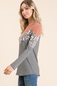 Chevron Colorblock Top - Rust