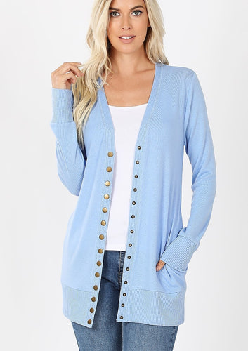 Mid-Length Snap Cardigan - Spring Blue