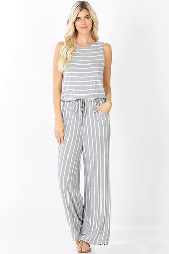 Casually Obsessed Jumpsuit - Grey/White - SALE!