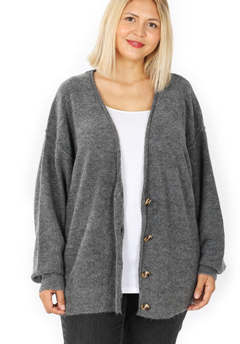 Not Your Grandpa's Cardigan - Charcoal *up to 3x*