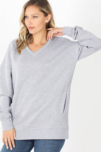 Alyssa Side Pocket Sweater - Light Grey
