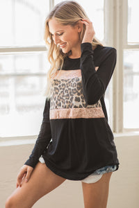 Alexis Leopard Top - Black