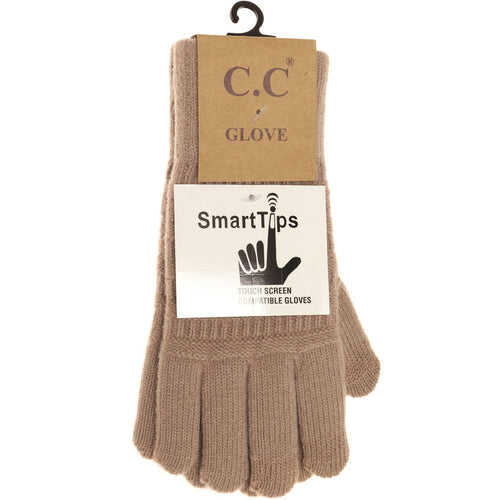 CC Beanie Classic Knit Gloves ~ Taupe