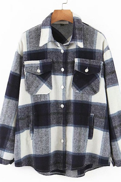 Bailey Plaid Shacket - Navy/Ivory *curvy*
