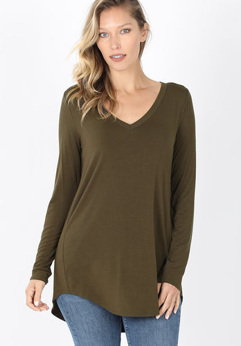 Everyday Long Sleeve V-Neck - Dark Olive - SALE!