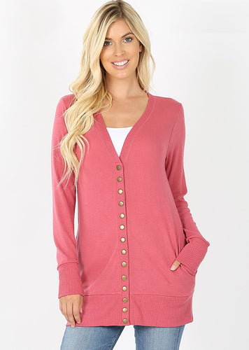 Mid-Length Snap Cardigan - Rose