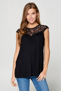 Claire Lace Tunic - Black *up to 3x*