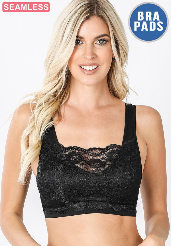Seamless Front Lace Bralette - Black