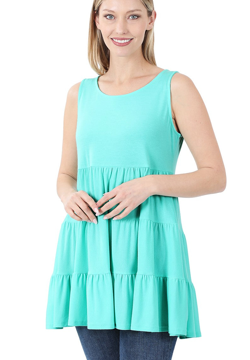 Tiered Baby Doll Tank - Mint